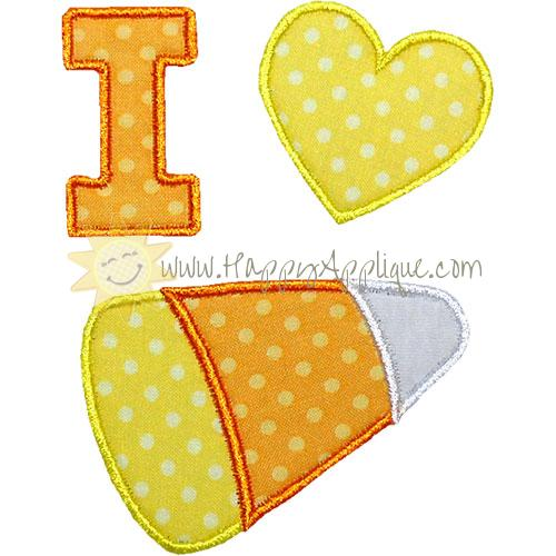 I Love Candy Corn Applique Design