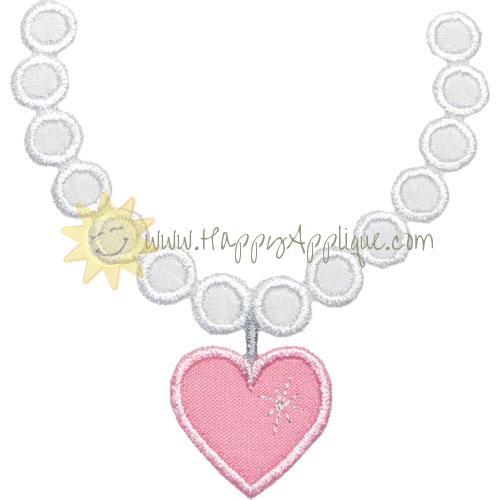 Pearl Heart Necklace Applique Design