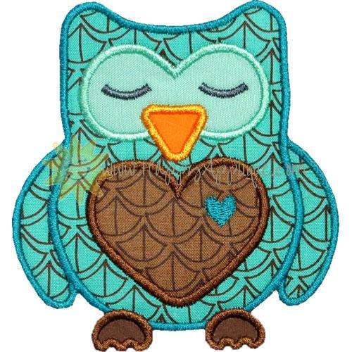 Sleeping Heart Owl Applique Design