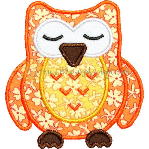 Sleeping Owl Applique Design