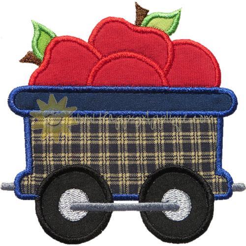Train Car Apples Applique Design