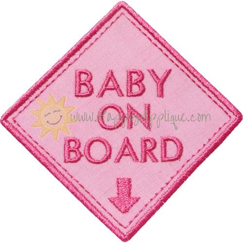 Baby On Board Applique Design