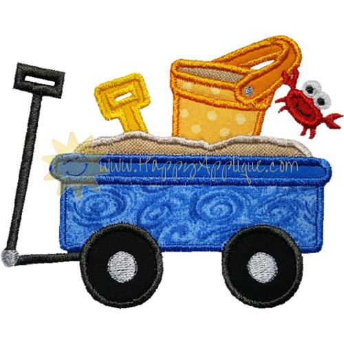 Beach Sand Wagon Applique Design