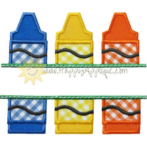 Crayons Name Plate Applique Design