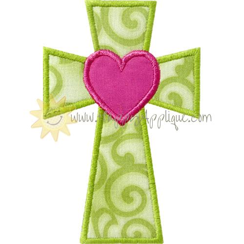 Cross Heart Applique Design