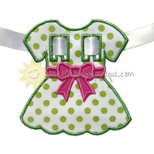 Dress Bow Banner Piece Applique Design