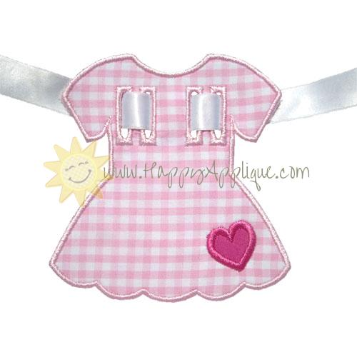 Dress Heart Banner Piece Applique Design