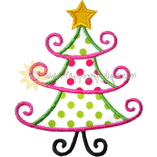Fancy Christmas Tree Applique Design