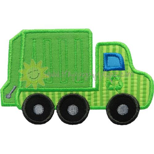 Garbage Trash Truck Applique Design