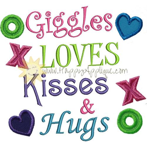 Giggles Kisses Hugs Applique Design