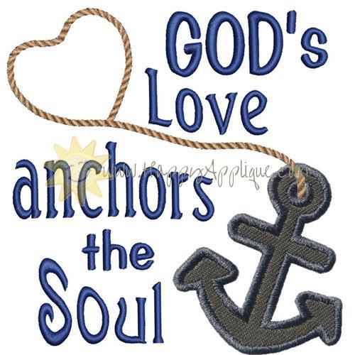 Gods Love Anchors Applique Design