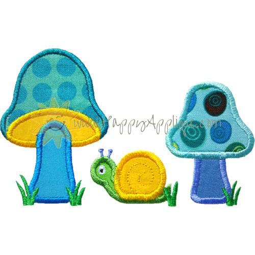 Mushrooms Snail Applique Design