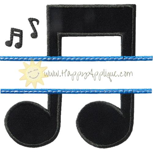 Music Name Plate Applique Design