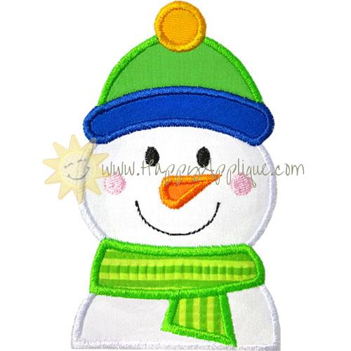 Partial Snowman Ski Hat Applique Design