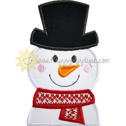 Partial Snowman Top Hat Applique Design