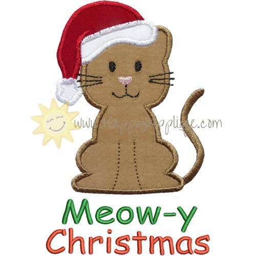 santa cat applique design