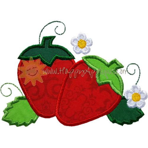 Strawberry Flowers Applique Design