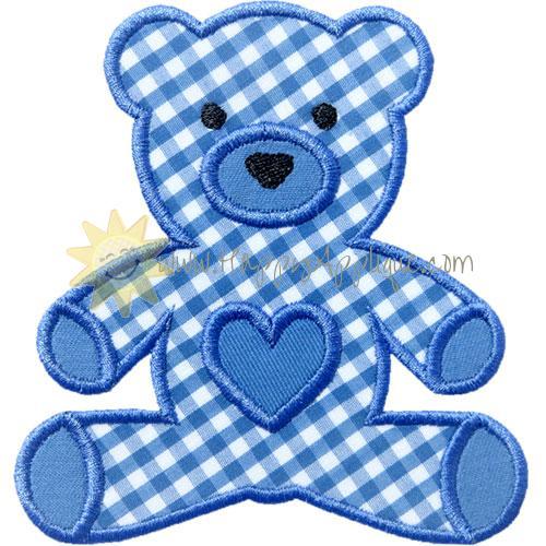 Stuffed Bear Heart Applique Design