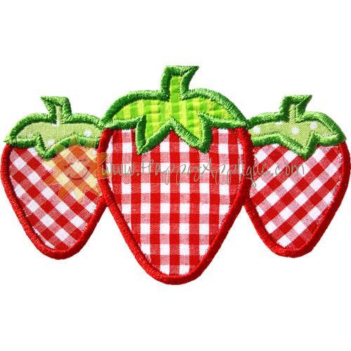 Three Strawberries Applique Design