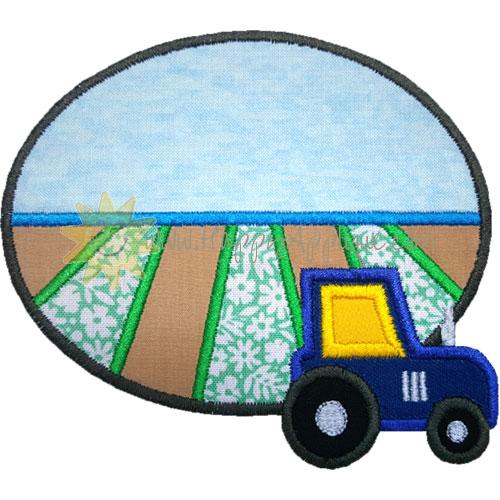 Tractor Field Oval Applique Design