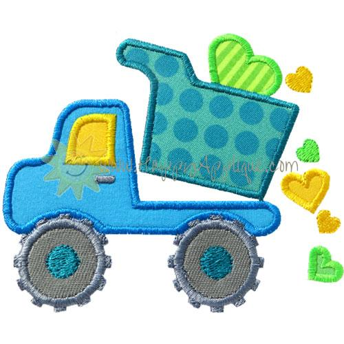 Valentine Dump Truck Applique Design